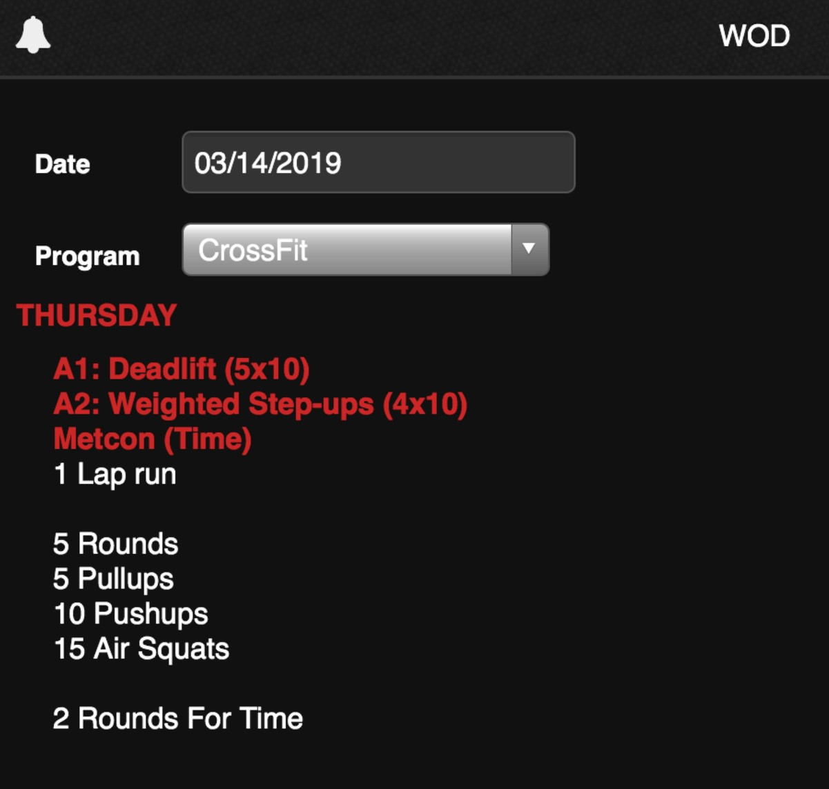 Crossfit WoD from Thursday - 3/14/19